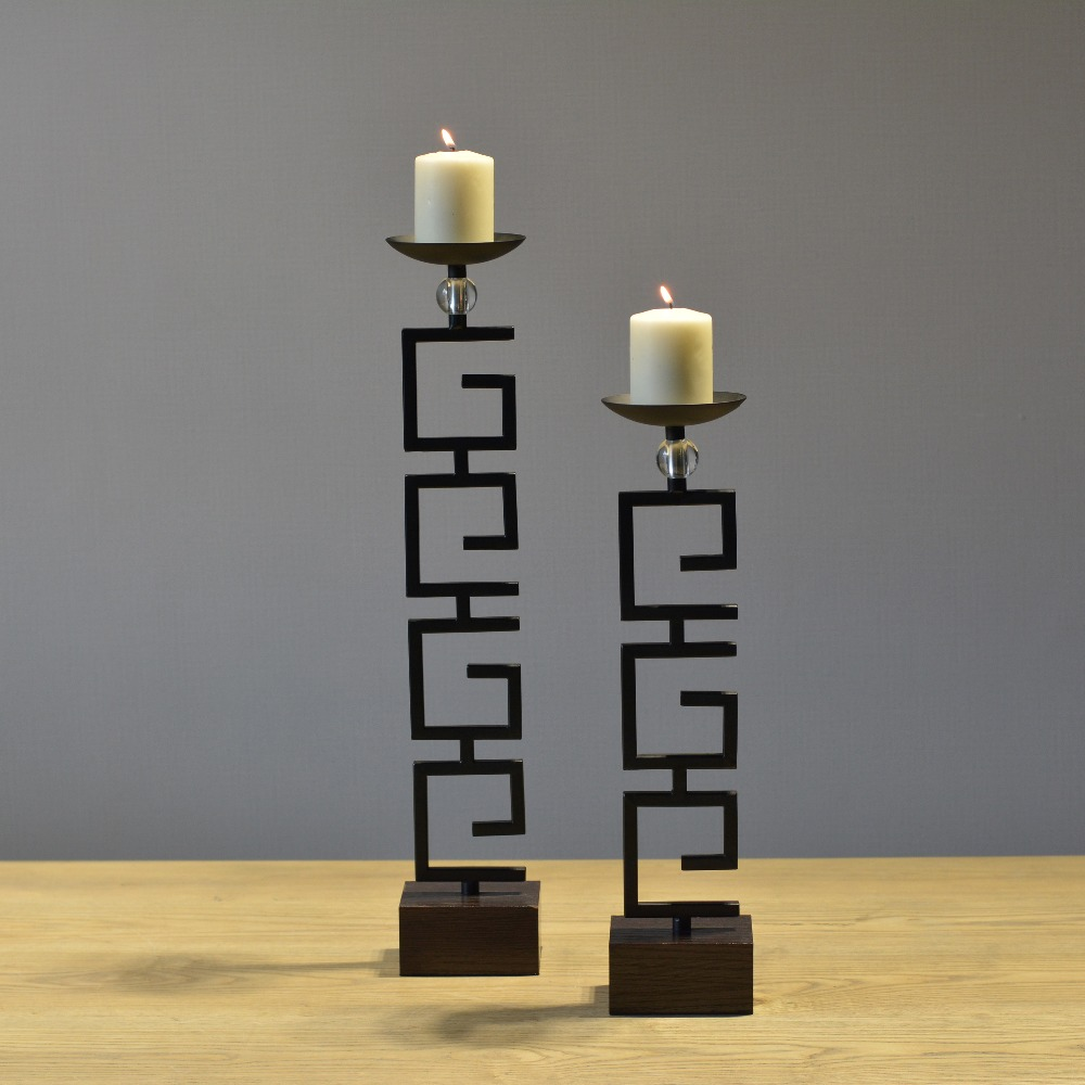 Chinese traditional black tracery shape big tealight for Stand decoration