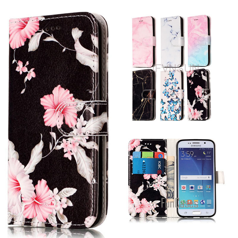 Case For Samsung Galaxy S6 S7 edge NEW Marble Flower Pattern Wallet Magnetic Stand Leather Flip Cover For Samsung S7 S6