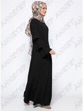 Muslim girls Long Lotus Leaf sleeve Dubai Dress maxi abaya jalabiya islamic women dress clothing robe kaftan Moroccan fashion