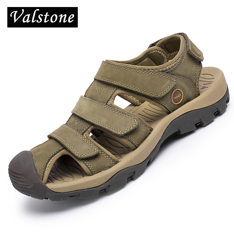 Valstone 2018 Summer Mens sandals Genuine leather luxury mens Beach shoes male rubber slippers summer sneakers for men size 46