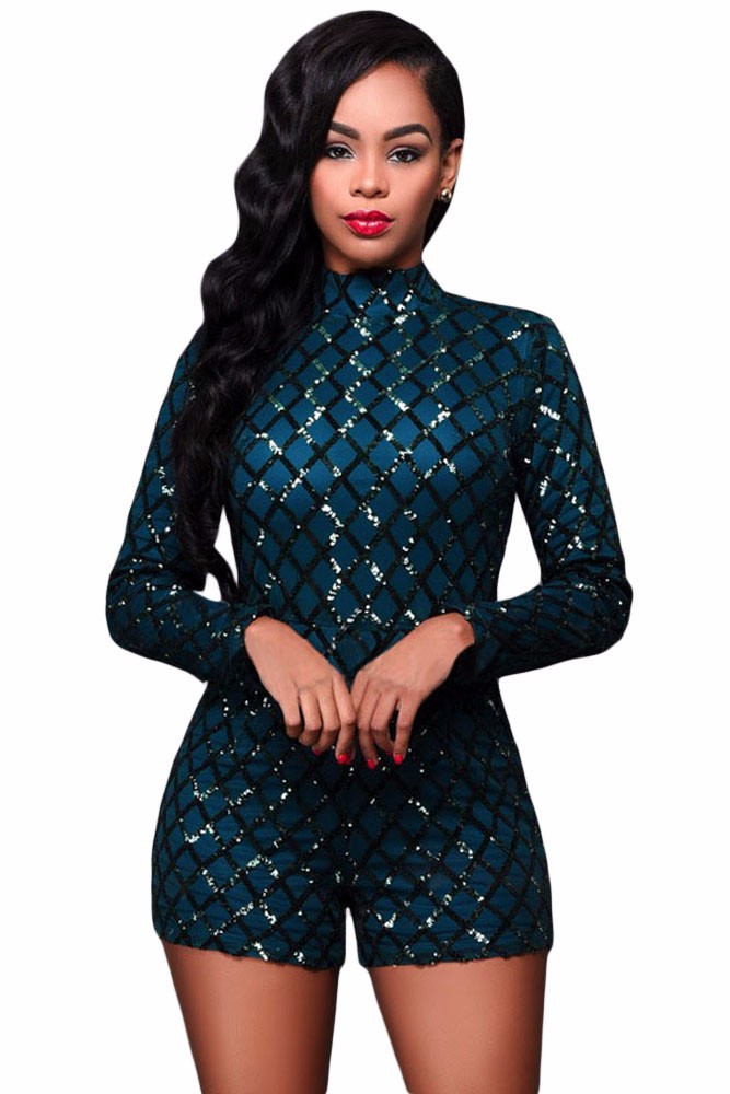 Dark-Green-Diamond-Sequins-Long-Sleeves-Romper-LC64189-9-2