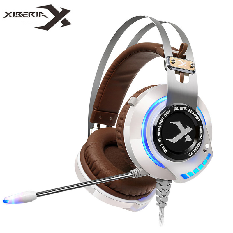 XIBERIA K2 Computer Gaming Headphones Stereo Surround Sound Glowing LED Light Game Headset Gamer with Microphone fone de ouvido xiberia k10 computer gaming headphones usb best stereo heavy bass headset gamer with microphone led light for pc game fone