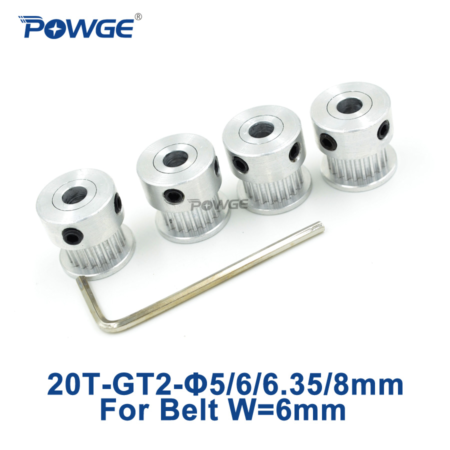 POWGE GT2 Timing Pulley 20 teeth Bore 5mm 6mm 6.35mm 8mm for width 6mm 2GT Synchronous Belt Small backlash 20Teeth 20T 4pcs powge 24 teeth 2gt timing pulley bore 5mm 6 35mm 8mm for width 15mm gt2 synchronous belt small backlash 2gt pulley 24teeth 24t