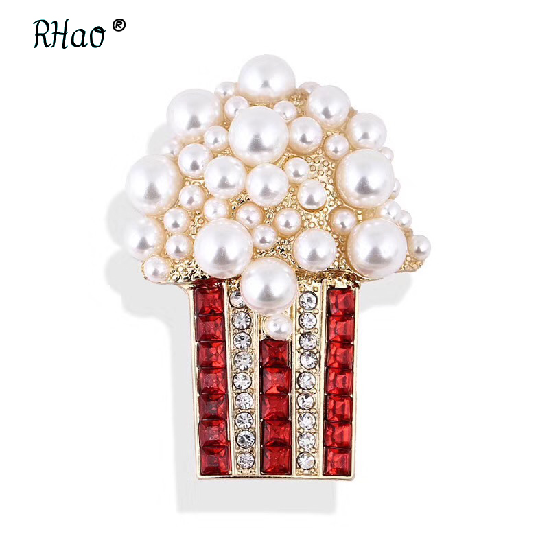 RHao Pearl Red Crystal Popcorn Brooches for women men suit corsage scarf buckles girls kids funny hats clips dress jewelry badge