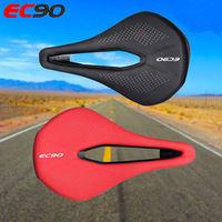 MTB Bike Saddles Seat Gel Cushion Comfort Bicycle Road Steel Bow Soft Leather For Bicycle Black and Red Color