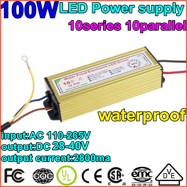 1X100W driver Waterproof Constant Current Driver10series10parallet100w ball LED Driver Power Supply85-265V to DC20-40V Wholesale waterproof 350ma 1w power constant current source led driver 85 265v