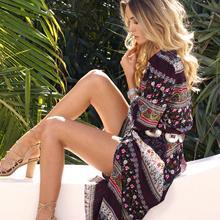 New Boho Dress Chic Floral Print Maxi Long Desses V-neck Hippie Women Dresses 2018 Summer Bohemia Brand Clothing Plus Size XXXL