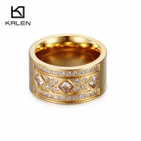Kalen Fashion 18K Gold Plated Anillos Mujer Black Blue White Color Stainless Steel Wedding Engagement Party