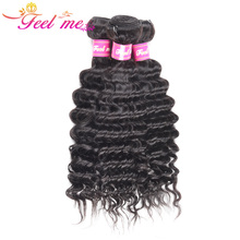 FEEL ME Hair Malaysian Deep Wave Bundles Human Weave Natural Color 10-28 Remy Extensions 1/3/4 Deal