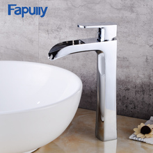 цена на Fapully Bathroom Sink Mixer Tap Single Handle Deck Mounted Chrome Finish Hot Cold Water Waterfall Tall Basin Faucet