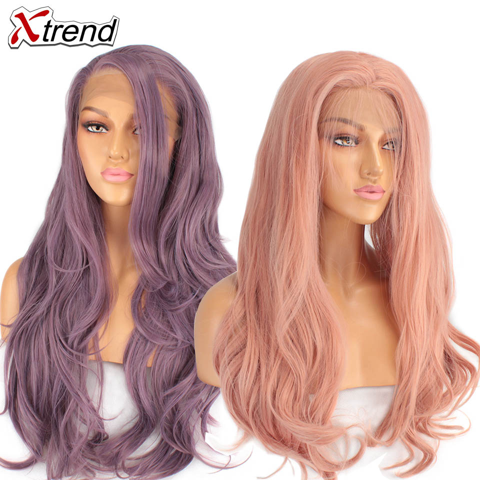 Xtrend Synthetic Lace Front Wig Long Pink Purple Orange Green White Wigs For Black Women Wave Hair Female Peruca Curly Copper(China)