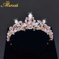 Alta calidad Rhinestone Tiara barata nupcial pelo de la Corona cristal Rosa princesa coronas y Tiaras oro barroco Tiara HG217
