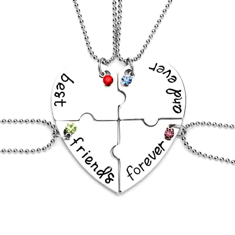 BFF teman terbaik selamanya dan selamanya 4 pcs manik-manik rantai kristal jigsaw puzzle kalung perhiasan persahabatan untuk sahabat