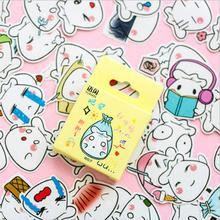 50PCS / Box New Cute Buns Paper Label Sealing Stickers Crafts And Scissors Decorative Album Thin DIY Learning Stationery