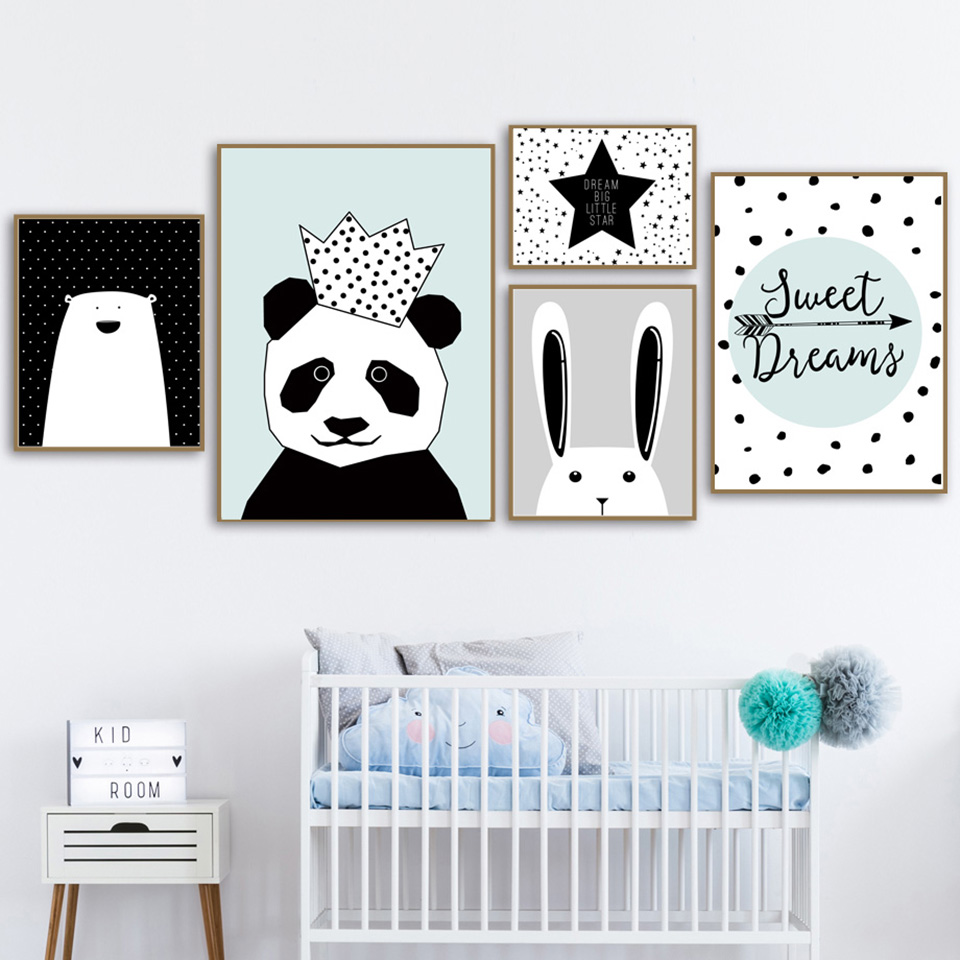 Canvas-Painting-Wall-Art-Print-Crown-Panda-Animal-Nordic-Style-Kids-Decoration-Posters-And-Prints-Wall