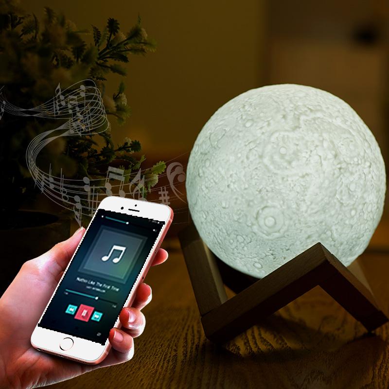 Music 3D Moon light With Built-in Bluetooth Speaker 3/7 colors LED Night Light Remote Control 13cm 18cm Dimmable Decorative