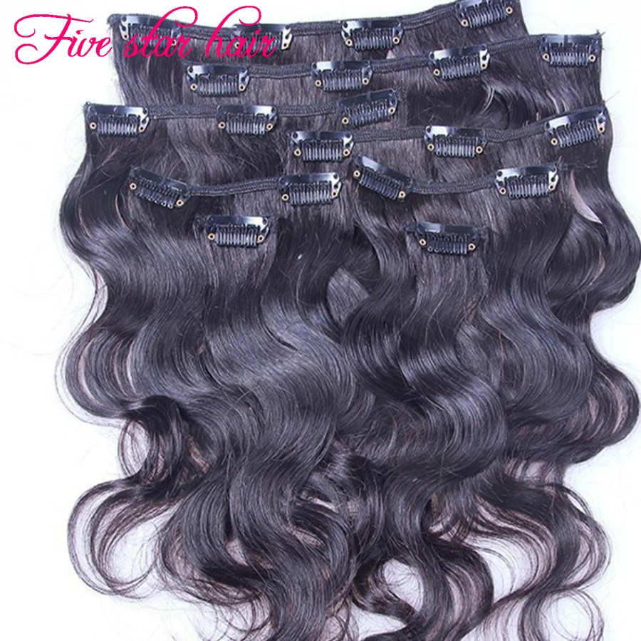 2016 New arrival Clip in human hair Extensions 8A grade Body wave hair Extension Brazilian virgin hair Clip in Extension on sale