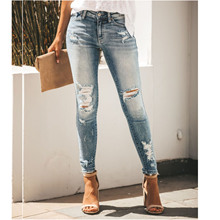 Summer button stretch mid-waist ladies jeans hole ladies jeans casual female pencil pants straight Slim ladies feet jeans 2017 rushed real zipper fly embroidery pencil pants mid cotton regular plaid light waist jeans jeans jeans are the female