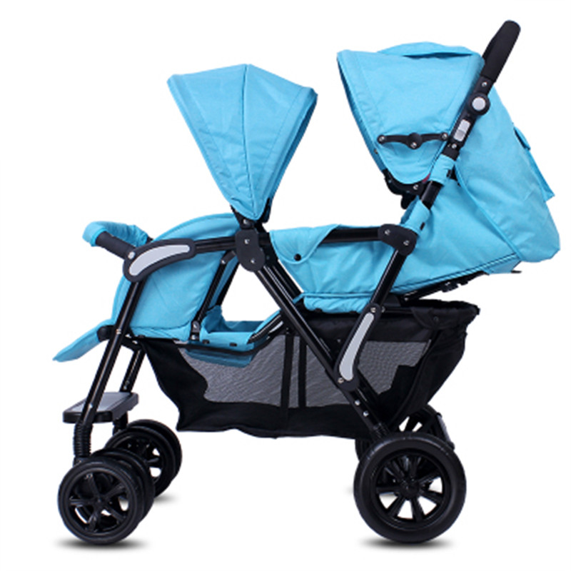 2019 twin strollers baby carriages sitting folding two seat sitting and lying twins double stroller image