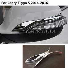Car ABS chrome back rear view Rearview eyebrow Side Mirror Cover stick trim frame 2pcs For