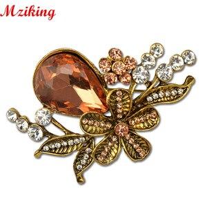 Женская винтажная брошка MZC, золотая металлическая брошка с цветком и кристаллом