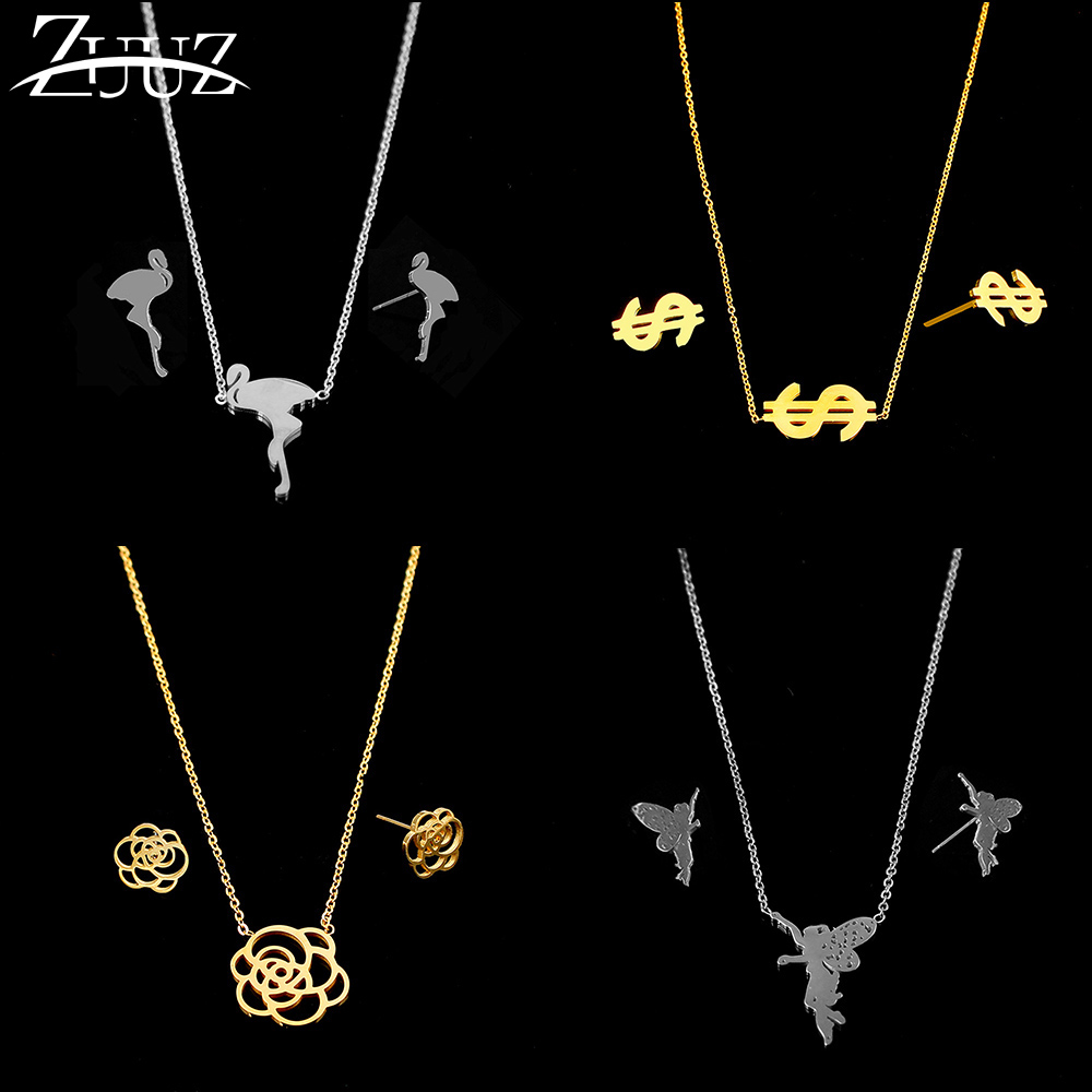 ZUUZ jewelry sets necklaces stud earrings stainless steel bridal gold accessories for women jewellery set fashion chain