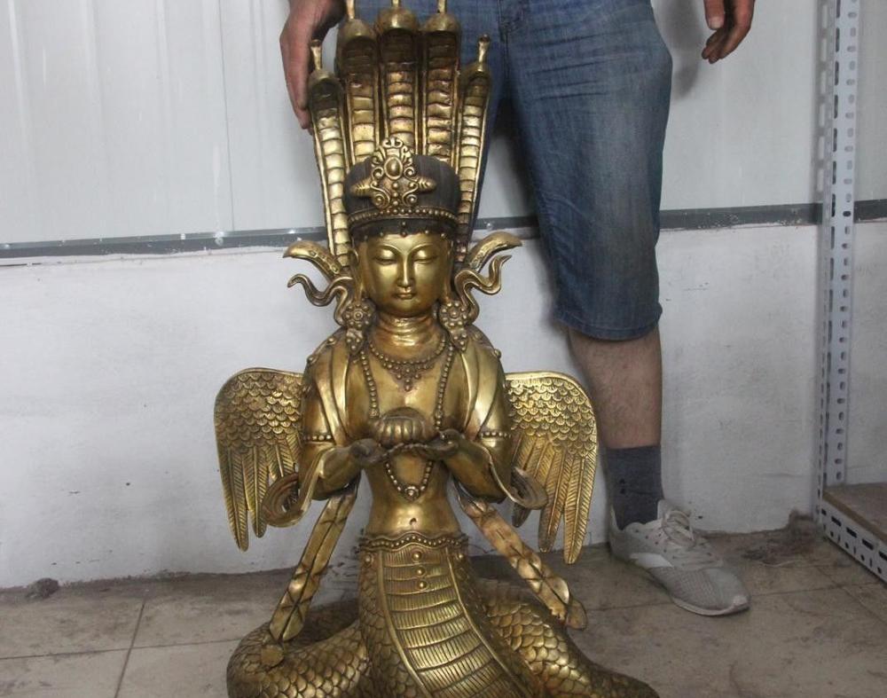 India temple Buddhism Bronze Copper Gild 5 Head Snake Naga goddess Buddha Statue