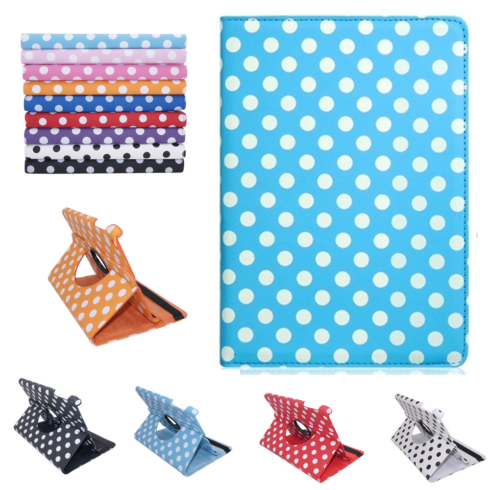 все цены на Polka Dot Print 360-Degree Rotation Faux Leather Flip Case with Stand for iPad Air 1