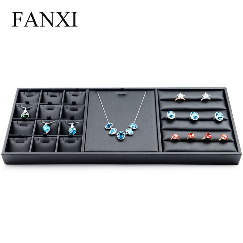 FANXI Black PU Leather Multifunctional Jewelry Display Tray for Ring Pendant Necklace Organizer Jewelry Box Shop Showcase jewelry organizer ring display stands ring showed tray holder for rings showcase velvet organizer box for women decorations