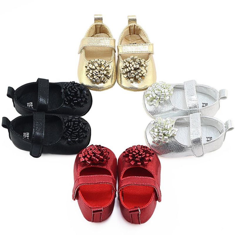 Newborn Baby Girls Fashion Shoes Pu Leather Solid Print First Walker Infant Toddler Soft Soled Flower Shoes