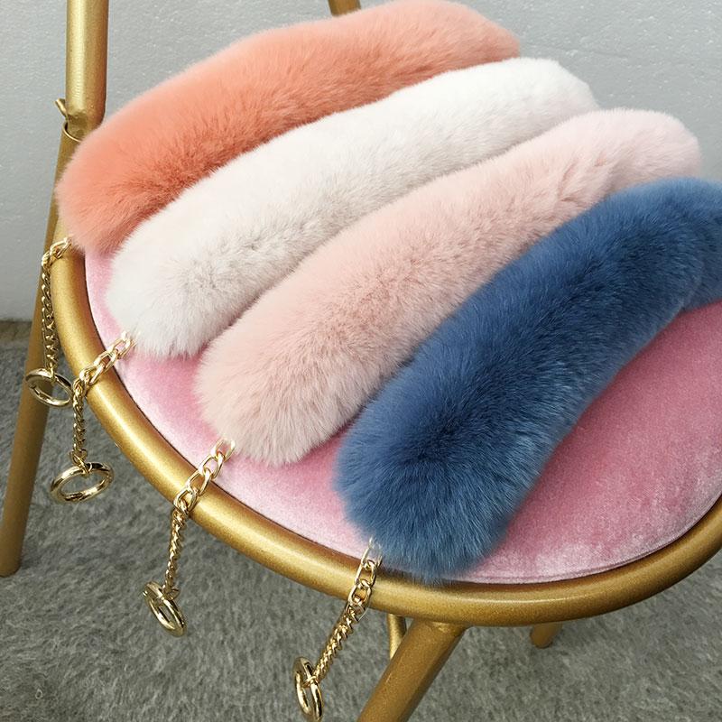 55cm Replacement Bag Strap Genuine Real Rabbit Fur Handbag Should Handle For Women Purse Belts Charm Winter Accessories R33