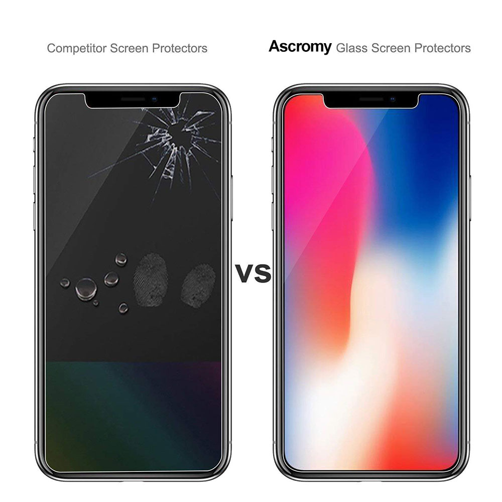 Ascromy For Apple iPhone XS Max Premium 9H Tempered Glass Screen Protector For iPhone X S XR 8 7 Plus 6 6S 8plus Protection Film (2)