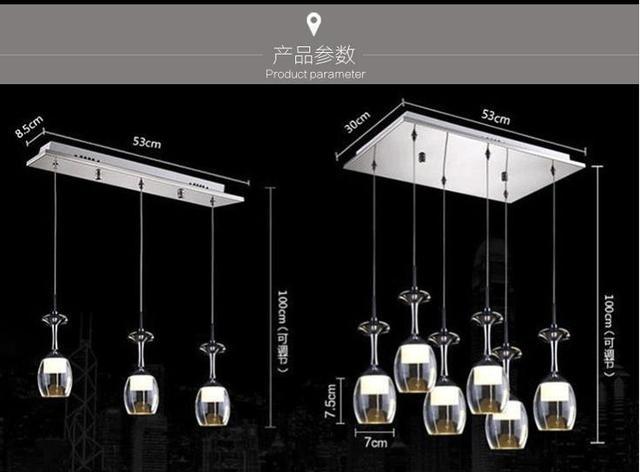 GroBartig 1/3/6 Köpfe Lampen LED Esszimmer Tisch Kristall Lampe Kreative Kunst Tasse  Einfache
