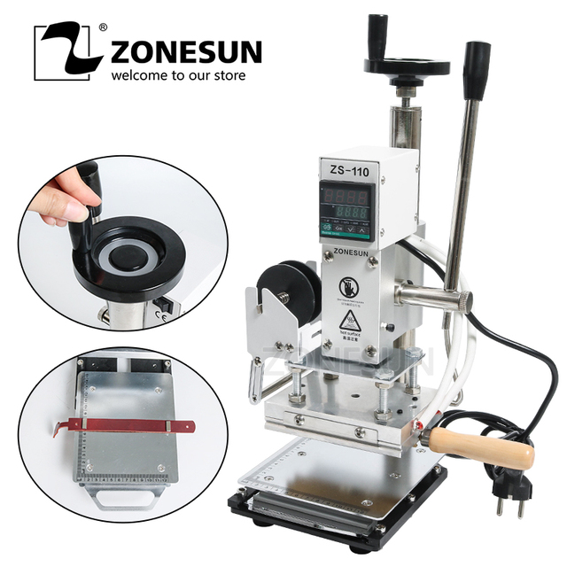 ZONESUN ZS110 hot foil stamping machine leather embossing bronzing tool for wood wood PVC paper DIY slideable workbench Digital