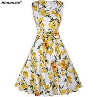 Himanjie Automne Femmes Vintage col carré réservoir Robe Citron Dot Polka Imprimer Rétro 50 s Swing arc S ~ 2XL Feminino Robes Partie