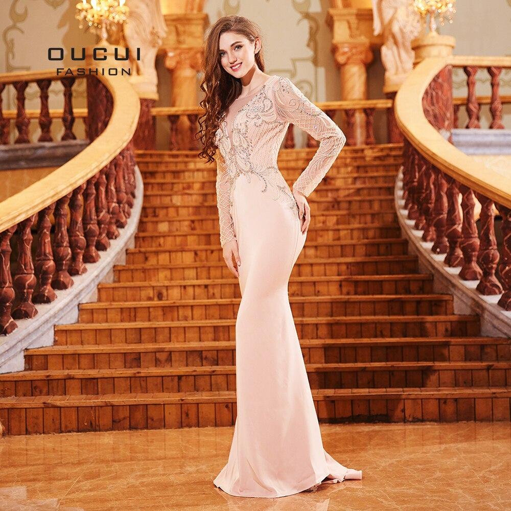 2019 Newest Tulle Beading   Evening     Dresses   Long Sleeves Sexy V Backless Mermaid   Dress   Elegant Abiye Women Robe De Soiree OL103301