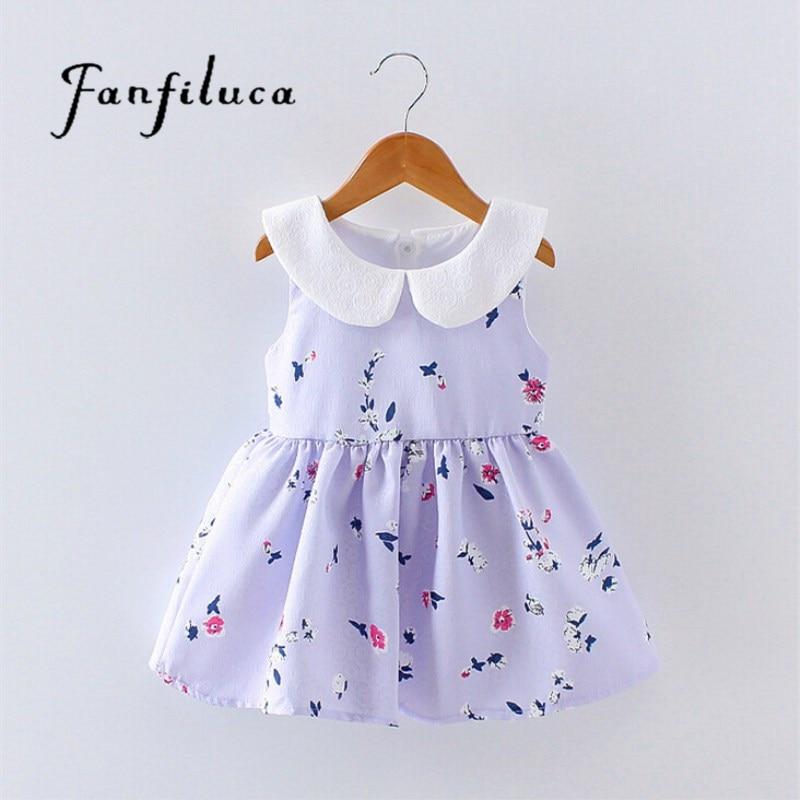 Fanfiluca 2 Colors Baby Girls Dress Princess Printing Ribbon Kids Dresses For Girls Cute ...