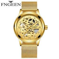 FNGEEN 2019 biznes zegarka mężczyzna zegar świetlny men Tourbillon wodoodporny zegarek mechaniczny zegarek top marka relogio masculino w Zegarki sportowe od Zegarki na