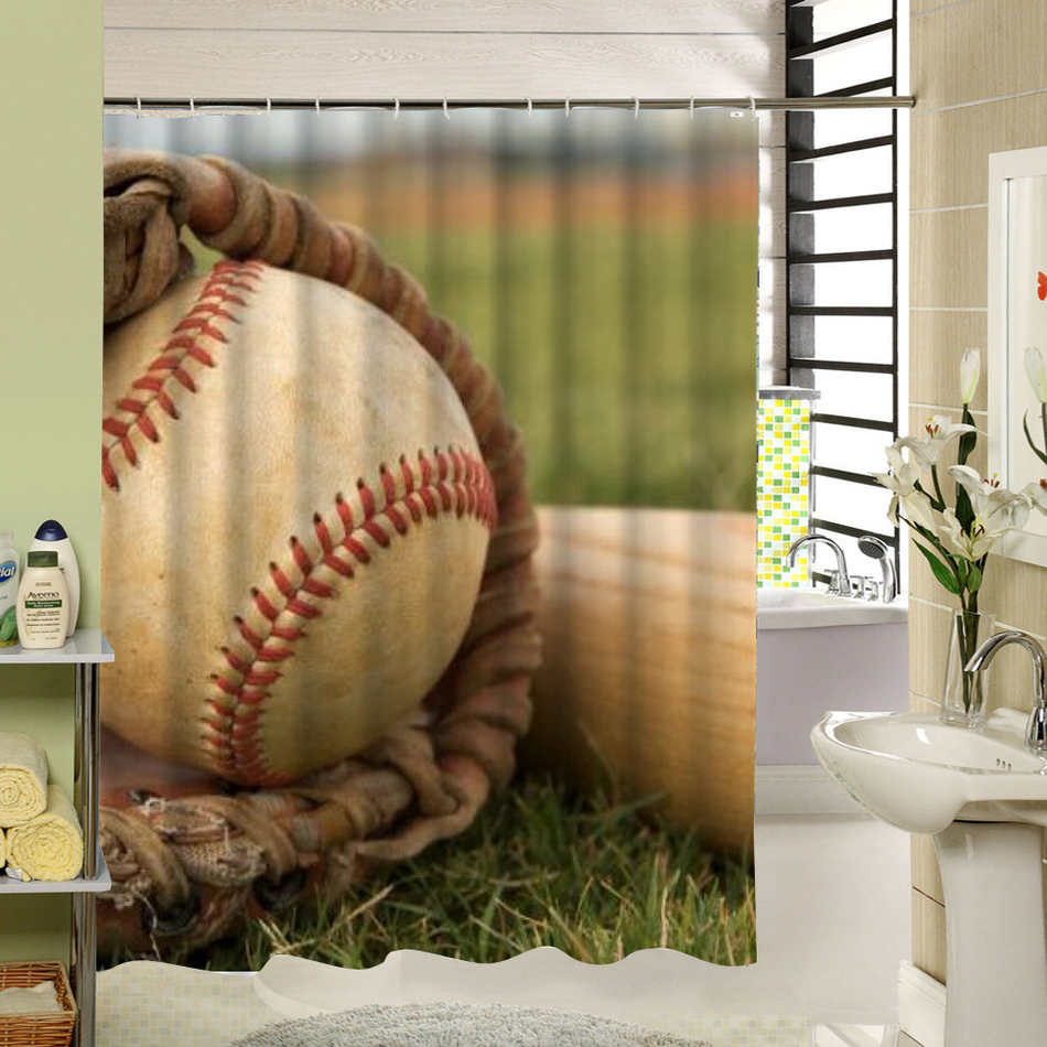 Football Shower Curtain Blue Polyester Fabric Waterproof ...