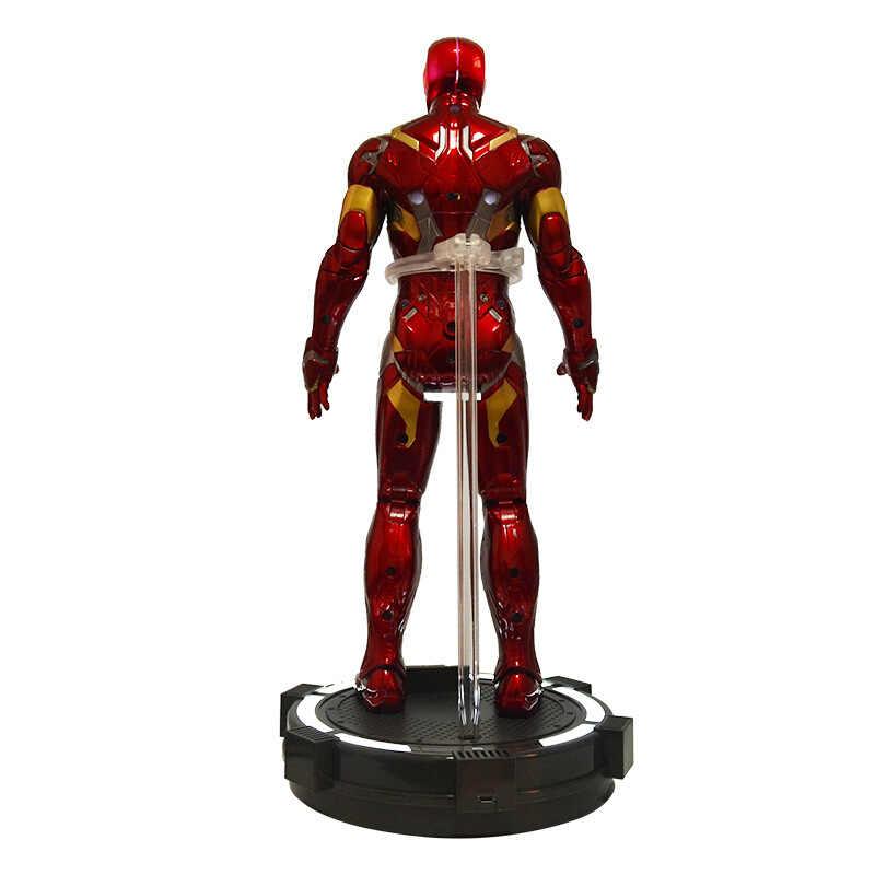36 CM 14 Polegadas Muito Grande PVC Avengers Iron Man Action Figure Mostrar Rack com Base da Plataforma Luminosa Presentes de Feriado ornamento