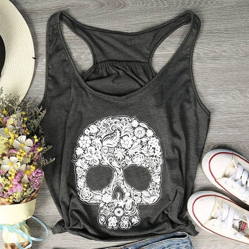 2018 Fashion   Tank     Tops   Women Floral Shugar Skull Print   Tank     Tops   Female Sleeveless Loose Summer Casual Dark Grey Ladies   Tops