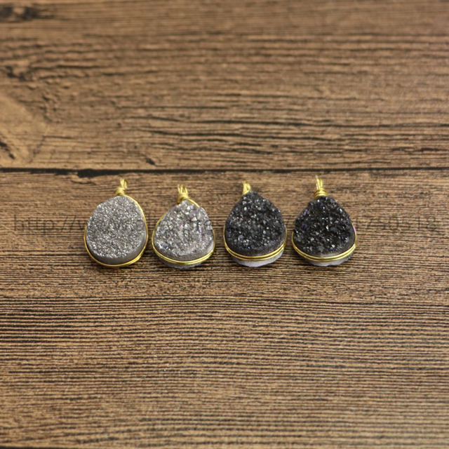 Wholesale tiny natural geode druzy pendant drop shape wire wrap wholesale tiny natural geode druzy pendant drop shape wire wrap stone pendant fashion druzy jewelry for mozeypictures Gallery