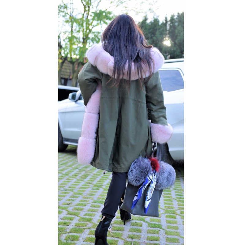CKMORLS новая парка из натурального меха с розовым меховым воротником Длинная Верхняя одежда модная Роскошная Меховая куртка мех кролика подкладка толстые теплые пальто повседневные
