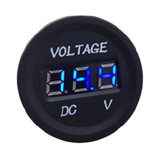 Waterproof  DC12V 24V Car Motorcycle Digital Display Voltmeter Meter Round Blue LED