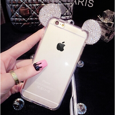 3D Mickey Mouse Case For Huawei P10 P10 Lite P9 Lite P9 Rhinestone Ears Soft Transparent TPU Protect Phone Covers With Chain