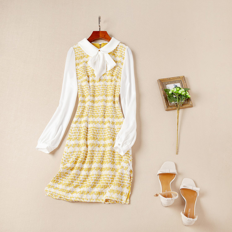 High Quality European American Women's Sweet Yellow Dresses Bow Collar Lantern Sleeve Slim Straight Patchwork Dress