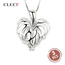 Кулон CLUCI женский из серебра 925 пробы в виде сердца с кленовыми листьями, ожерелье из серебра 925 пробы с жемчужной клеткой, 3 шт., SC076SB