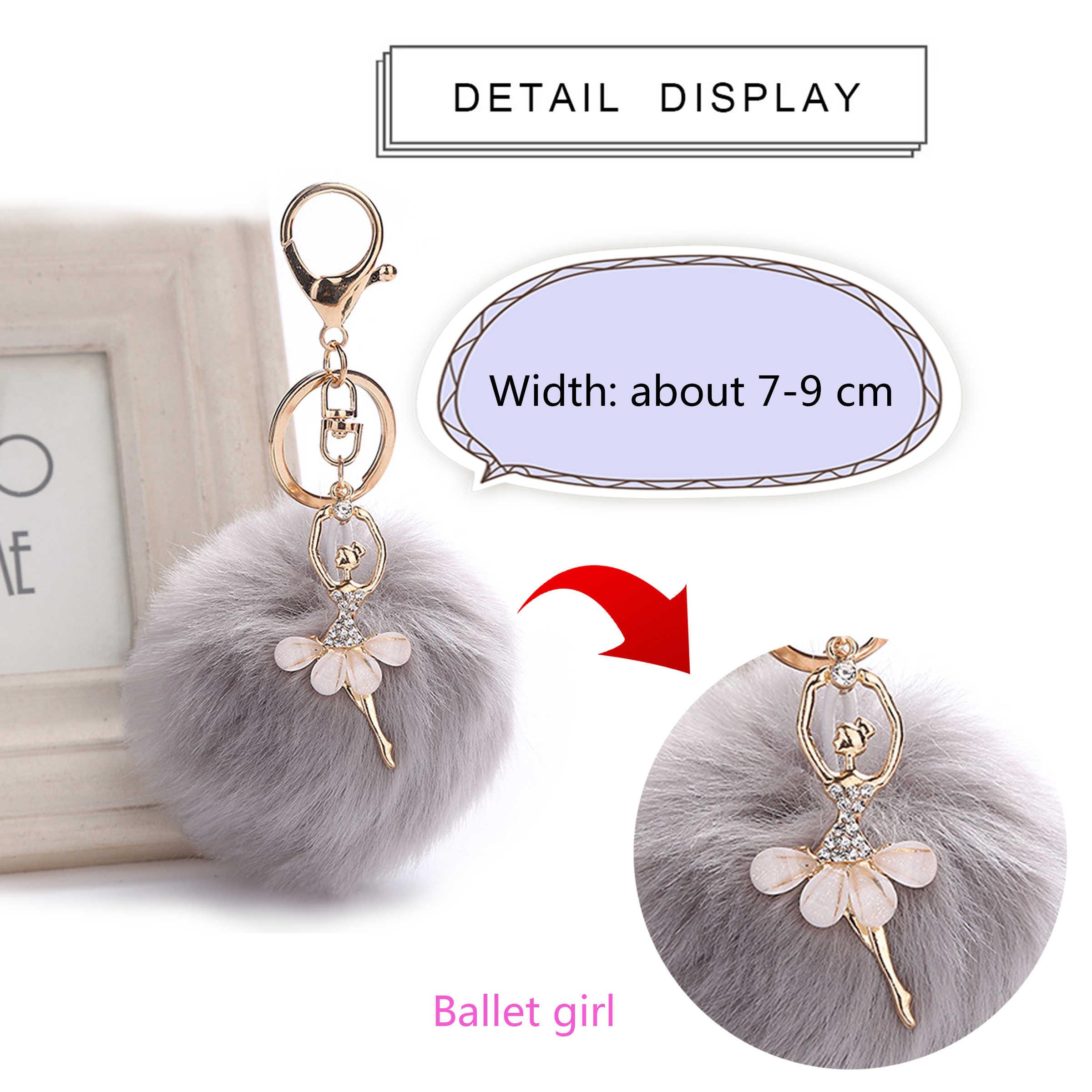 Новый танцующий Ангел девушка пушистый помпон брелки для ключей Кролик Мех животных мяч для женщин сумка талисманы подарок ювелирные изделия