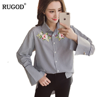 RUGOD Women Floral Embroidery Blouse Elegant Turn Down Collar Pearl Button Flare Sleeve Striped Blusa Office