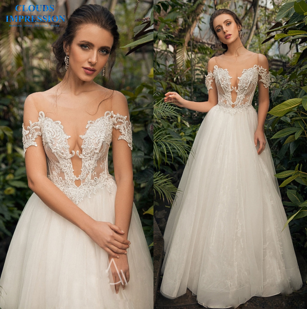 CLOUDS IMPRESSION Real Price 2019 A Line Deep V Neck Wedding Dress Vestige De Noiva Plus Size Bridal Gown-in Wedding Dresses from Weddings & Events    1